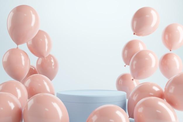 Podium mit pastellfarbenen luftballons auf blauem hintergrund
