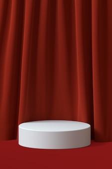 Podium mit rotem samtvorhanghintergrund. 3d-rendering