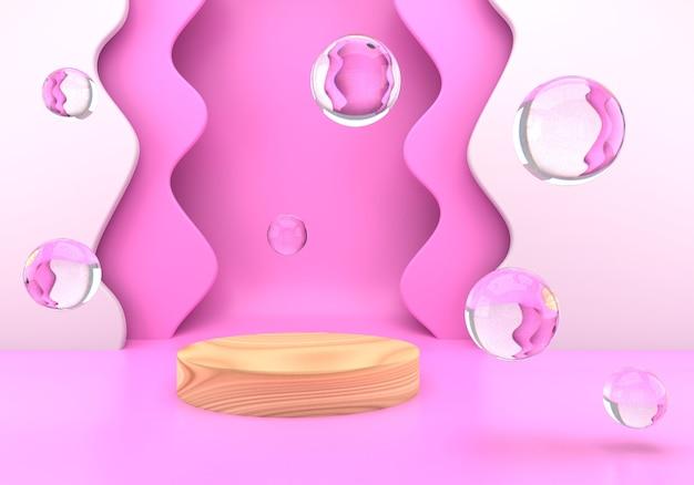 Podium mit seifenblasen und wellen