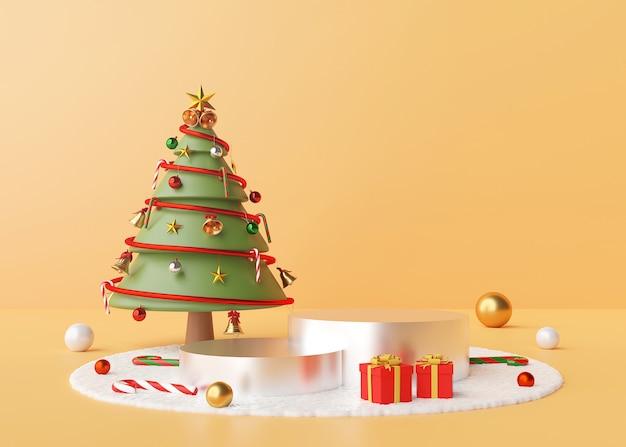 Podium mit weihnachtsbaum und verzierungen auf einem schneeboden, 3d-darstellung