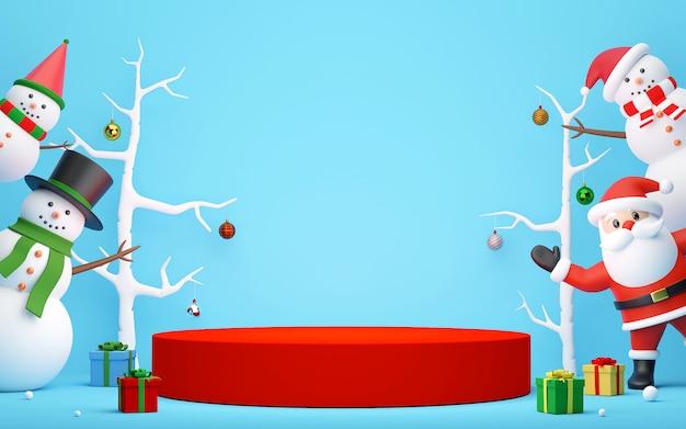 Podium mit weihnachtsmann und schneemann auf einem blauen hintergrund, 3d-rendering