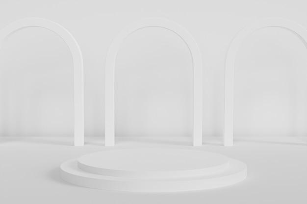 Podium oder sockel für produkte auf weißem hintergrund mit bogen, minimaler 3d-rendering