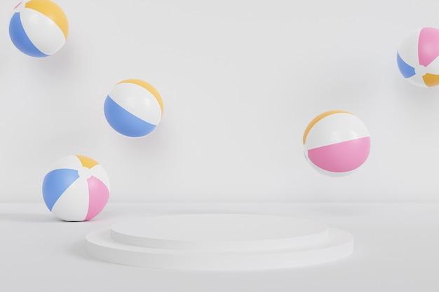 Podium oder sockel für produkte mit aufblasbaren wasserbällen auf weißem hintergrund, sommer minimal 3d-rendering