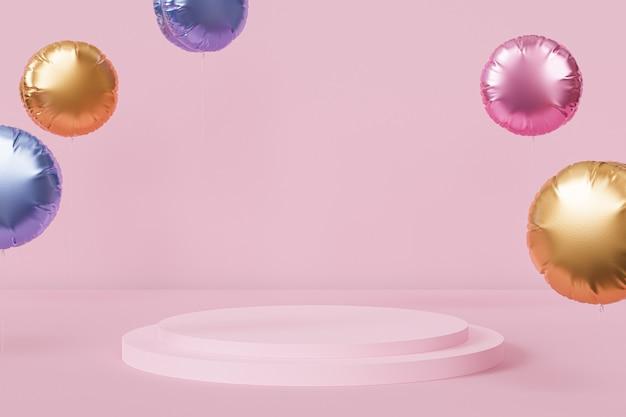 Podium oder sockel für produkte mit glänzenden ballons auf rosafarbenem pastellhintergrund, 3d-rendering