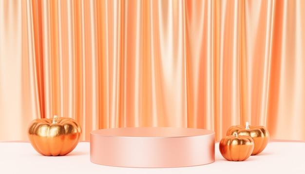 Podium oder sockel mit goldenen kürbissen für produktpräsentation oder werbung für herbstferien, 3d-rendering