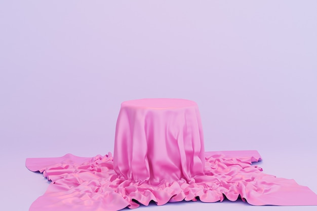 Podium oder sockel mit rosa stoff für produkte oder werbung auf blauem hintergrund, minimale 3d-illustration rendern