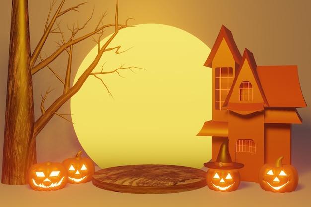 Podium produkt des halloween festivals in 3d-rendering