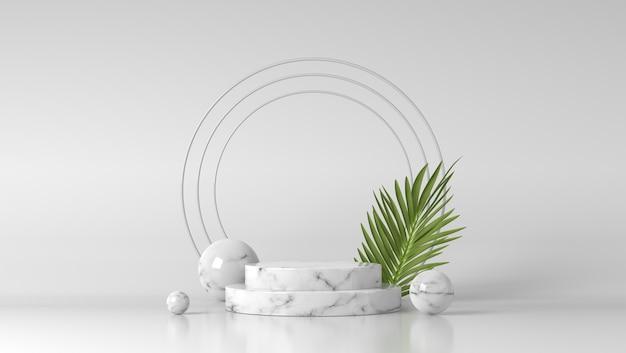 Podium-schaufenster aus weißem marmor