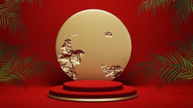Podium, sockel oder plattform, hintergrund für die präsentation von kosmetikprodukten. platz für anzeigen. rote bühnengeometrie des 3d-renderings mit gold. produktpräsentation leeres podium.