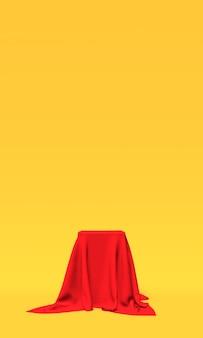 Podium, sockel oder plattform mit rotem tuch auf gelbem hintergrund bedeckt. abstrakte darstellung einfacher geometrischer formen. 3d-rendering.