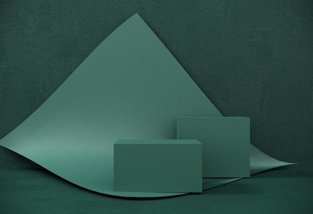 Podium, ständer aus papier auf hintergrund eines wirbelnden blattes für ausstellungen, präsentation von produkten. abstrakte zusammensetzung des geometrischen objekts, kästen.
