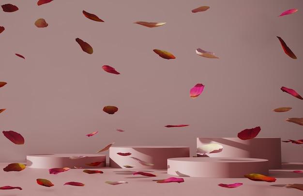 Podium, stehen mit rosenblättern.