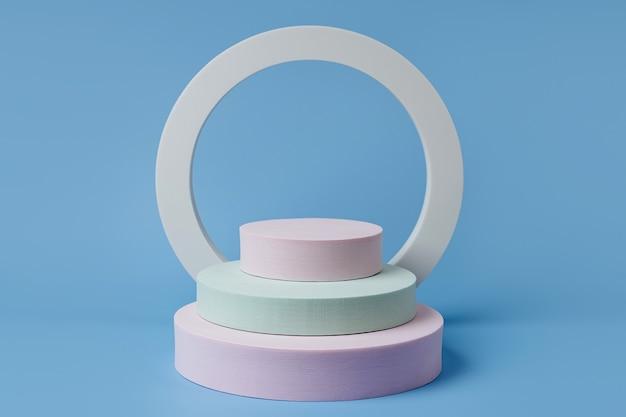 Podium, um kosmetische produkte mit geometrischen formen auf blauem hintergrund zu zeigen