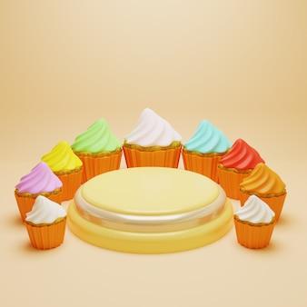 Podium umgeben bunte zuckerguss cupcakes, 3d render podest