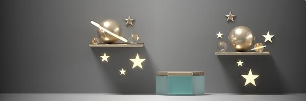 Podium und stars sphere planet für produktwerbung und kommerzielles 3d-rendering.