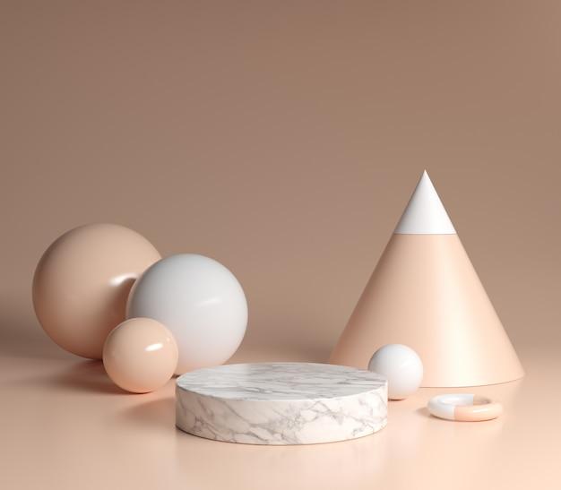 Podium weißer marmor mit primitiver form nude color hintergrund 3d render