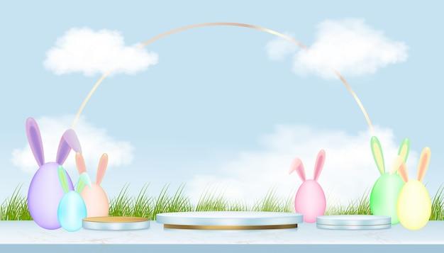 Podiumanzeige mit osterhasen und eiersuche im grünen feld, im blauen himmel und in den wolken