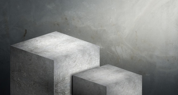 Podiumgrauer beton des ausstellungsstands in zwei schritten für anzeige des produktes am unschärfezementhintergrund
