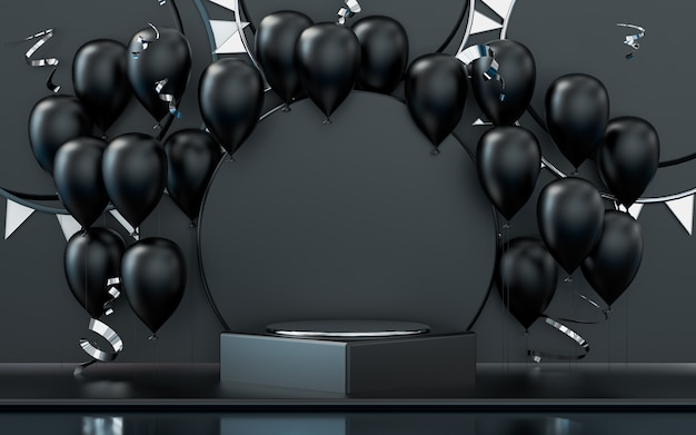 Podiumsbühne der wiedergabe 3d mit dunklem ballon- und konfettifeierhintergrund