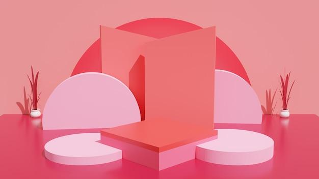 Podiumsmodell für produkt 3 stehen rotes thema und abstrakte form für die präsentation