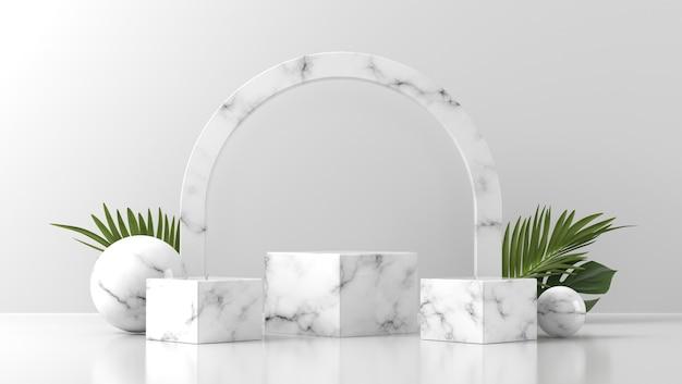 Podiumvitrine aus weißem marmor für die produktplatzierung mit blättern in weißer wand