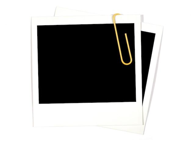 Polaroid fotoabzüge mit gelben büroklammer