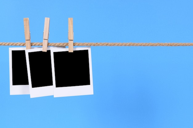 Polaroidart fotos auf einer linie