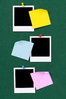 Polaroidfotos mit haftnotizen