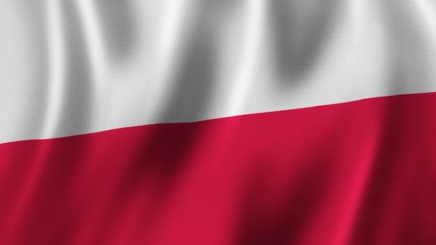 Polen fahnenschwingen nahaufnahme 3d-rendering mit hochwertigem bild mit stoffstruktur