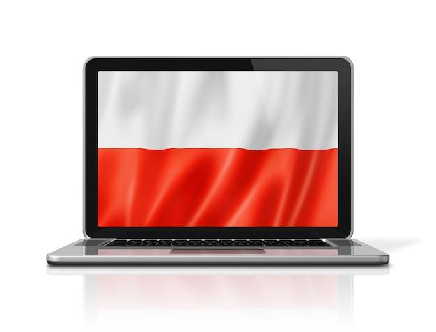 Polen-flagge auf laptop-bildschirm isoliert auf weiss. 3d-darstellung rendern.