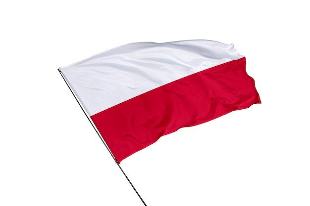 Polen-flagge auf weißem hintergrund