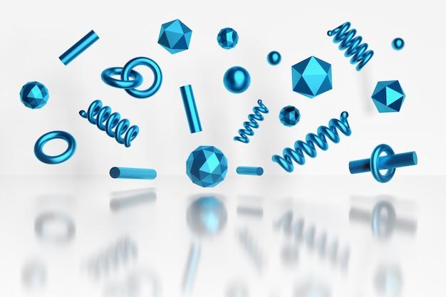Poligonal ursprüngliche formen mit der metallischen blauen beschaffenheit, die über weiße reflektierende oberfläche fliegt
