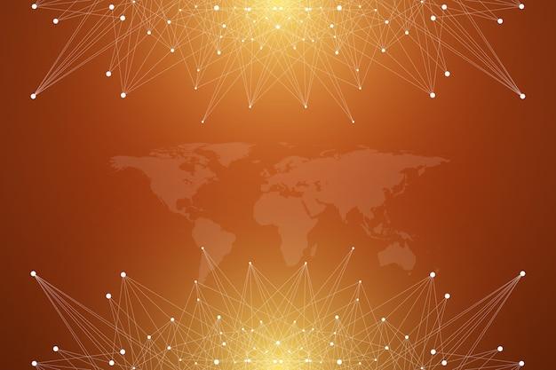 Politische weltkarte mit globalem technologienetzwerkkonzept. digitale datenvisualisierung. linienplexus. big-data-hintergrundkommunikation. wissenschaftliche abbildung.