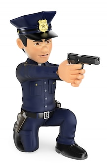 Polizist 3d, der knie einer gewehr zielt