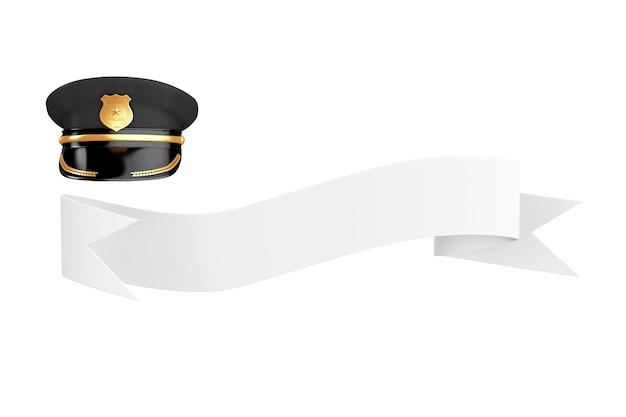 Polizist hut mit goldenem abzeichen über leeres band für ihr zeichen auf weißem hintergrund. 3d-rendering