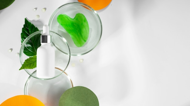 Polyglutaminsäure zur tiefenhydratation und gesichtspflege petrischalen mit grünem blatt und wasser