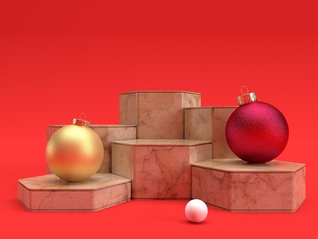 Polygon podium aus valencia marmor mit weihnachten verziert auf rotem hintergrund