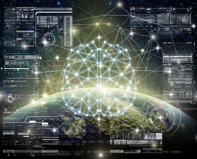 Polygonale gehirnform der künstlichen intelligenz mit digitalem virtuellem bildschirm der technologie