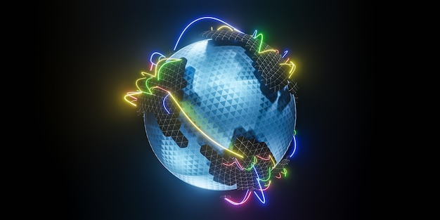 Polygonaler 3d-globus mit globalen linienverbindungen., globales soziales netzwerk., 3d-modell und illustration.