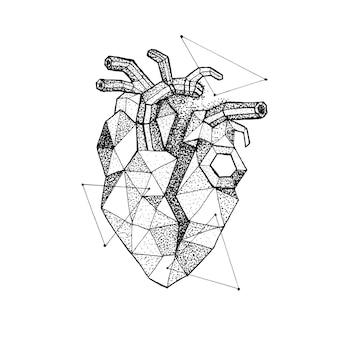 Polygonales gebrochenes herz dotwork. raster-illustration des hippie-art-t-shirt-designs. liebe tattoo hand gezeichnete skizze.