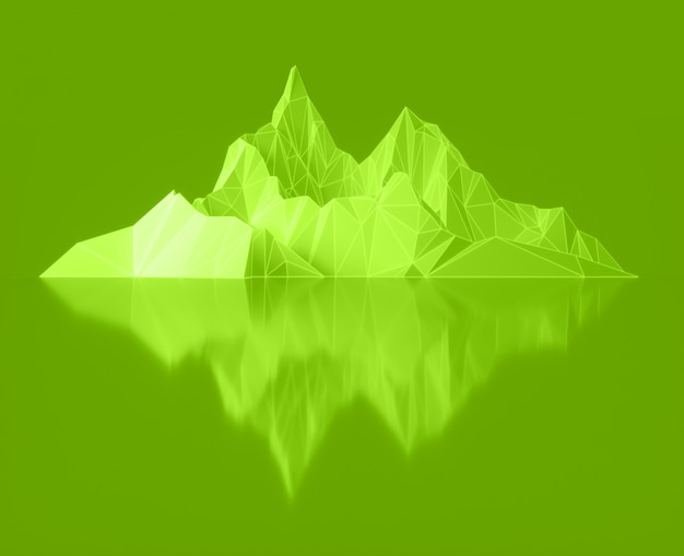 Polygonbild von berggipfeln mit einer leuchtenden beleuchteten 3d-illustration