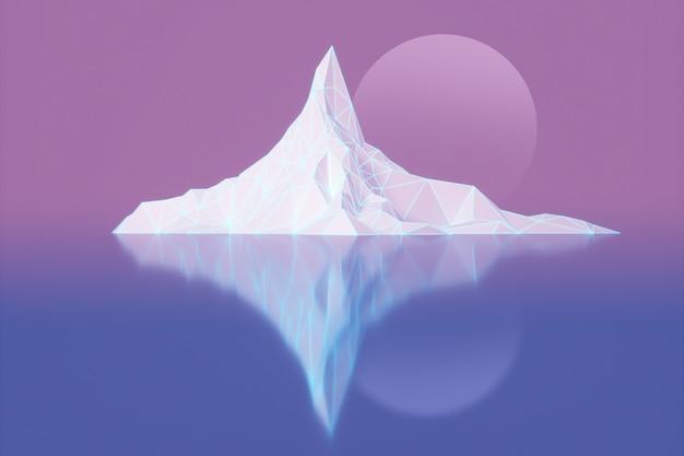 Polygonbild von bergspitzen mit einer glühenden hintergrundbeleuchteten illustration 3d