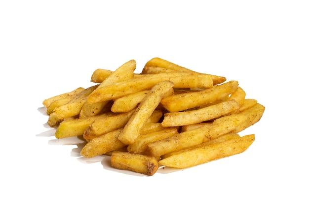 Pommes frites oder gebackene kartoffel-pommes auf weißem hintergrund