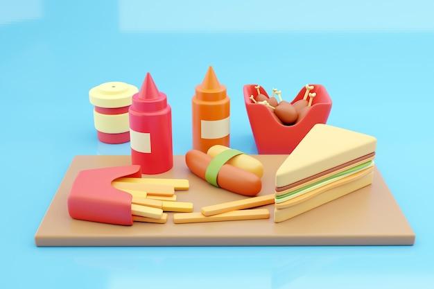 Pommes, hot dogs und erfrischungsgetränke auf blauem hintergrund. 3d-rendering.