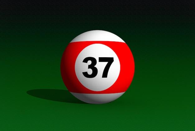 Poolball auf einem grünen billardtisch. 3d-bild. kugelnummer 37