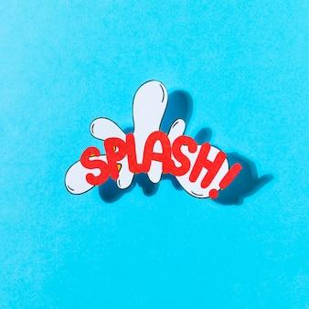 Pop-art-illustration des spritzentextes und der effektvektorikone gegen blauen hintergrund