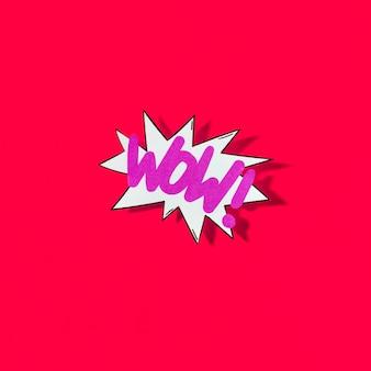 Pop-art-illustration von wow-symbol für web auf rotem hintergrund