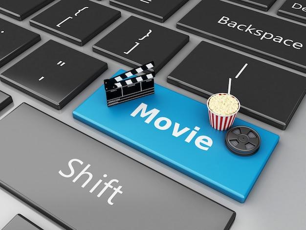 Popcorn 3d, scharnierventilbrett und filmspule auf computertastatur.