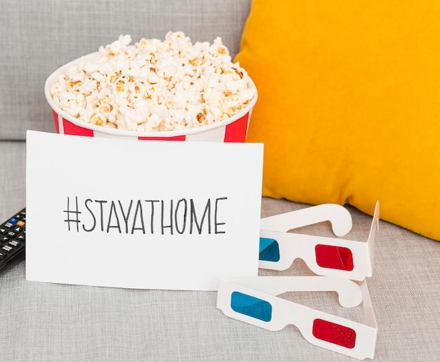 Popcorn und 3d-brille