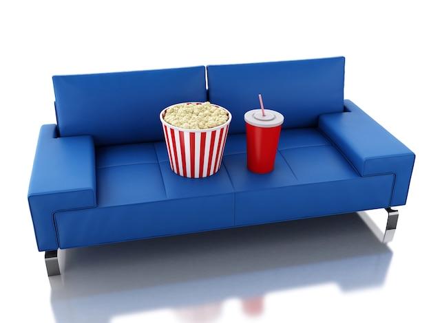 Popcorn und getränk 3d auf sofa. kino-konzept